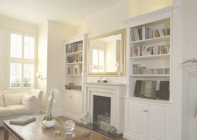 Living room -  period style alcove cupboards and shelves