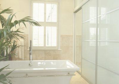 Bathroom room divider - contemporary sliding doors - white glass