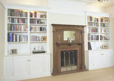 Victorian style paneled bookcase and cupboards