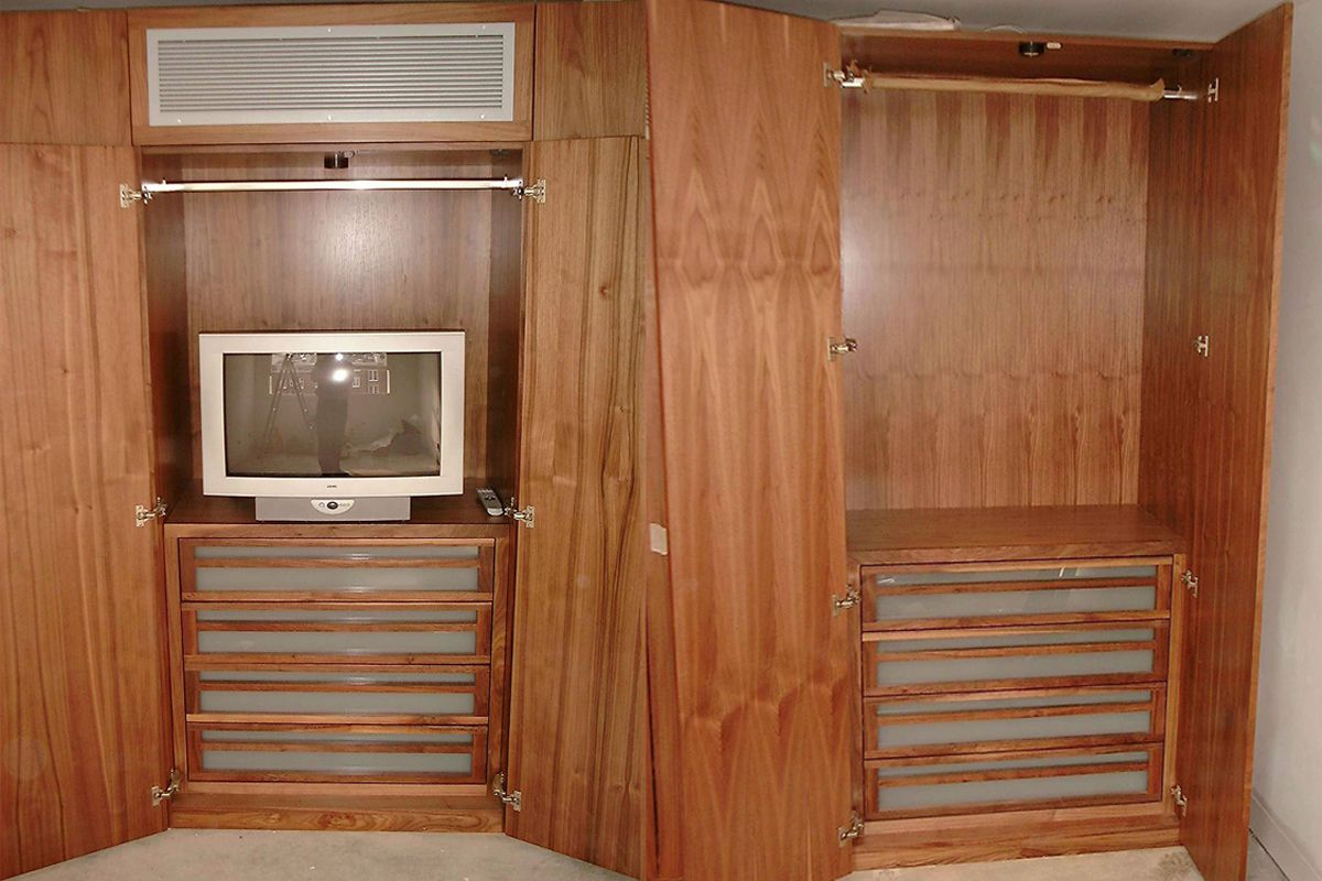 bedroom wardrobe with AV storage built in