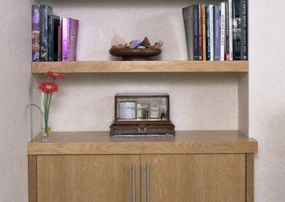 Contemporary oak cupboards - floating shelf