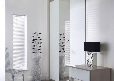 Wardrobe - contemporary sliding doors - white glass - dressing mirror