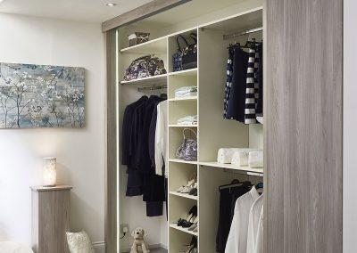 Wardrobe - sliding panel doors - oak wood effect finish - pull out shoe rack