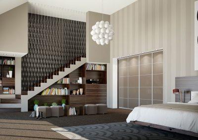 Wardrobe contemporary sliding doors - grey glass - decor bars