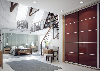 Wardrobe - contemporary sliding doors - dark red glass - decor bars