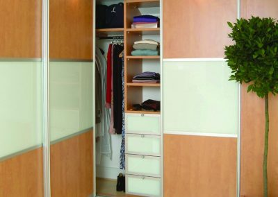 Wardrobe - contemporary sliding doors - soft white glass and beech wood effect finish - matching interior drawers