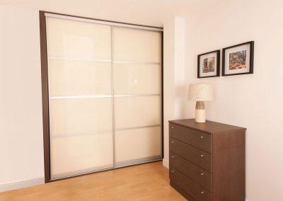 Wardrobe - contemporary sliding doors - soft white glass - decor bars