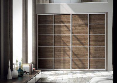 Wardrobe - contemporary sliding doors - wood effect finish - decor bars